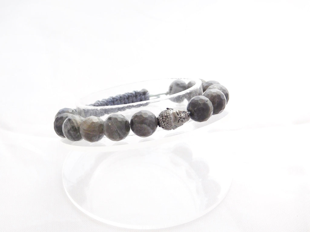 Beads for Her Labradorite with Dark Silver Buddha Bracelet