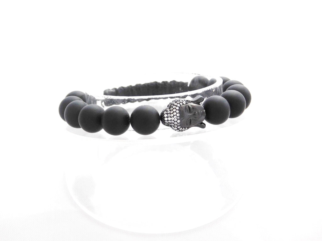 Beads for Her Matt Onyx with Dark Silver Pave Buddha Bracelet