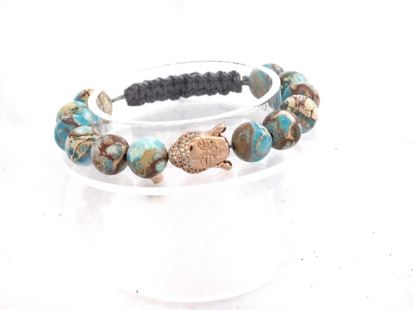 Beads for Her Blue Sediment Jasper with Rose Gold Pave Buddha Bracelet