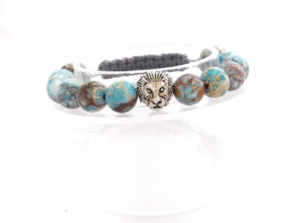 Beads for Her Blue Sediment Jasper with Lion Bracelet