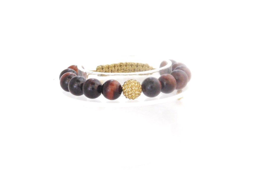 Beads for Her Red Tiger Eye with Gold Crystal Bracelet