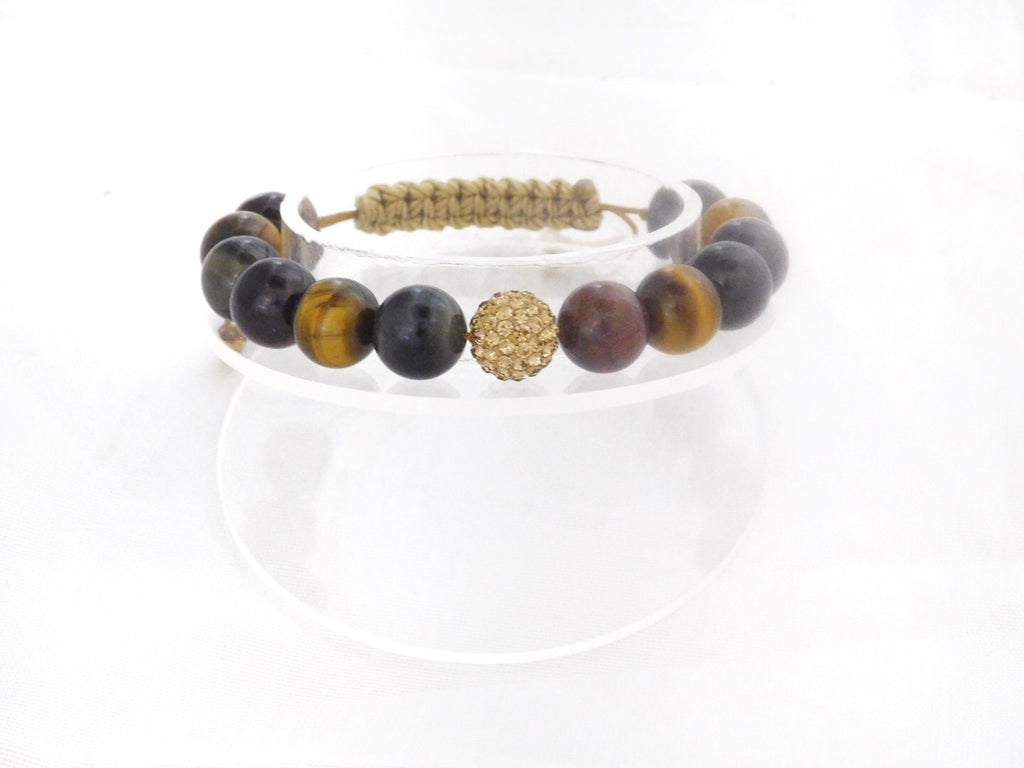 Tri-Color Tiger Eye with Gold Crystal