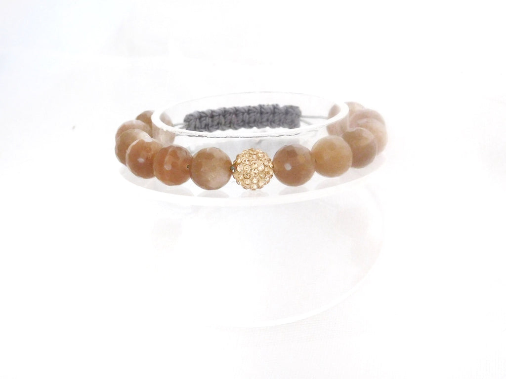 Beads for Her Sunstone with Rose Gold Crystal Bracelet