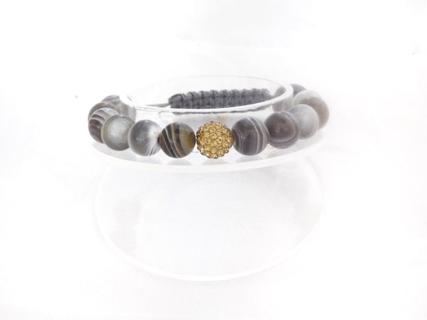 Beads for Her Botswana Agate with Gold Crystal Bracelet