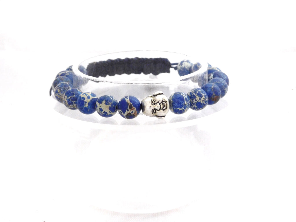 Beads for Her Blue Sediment Jasper with Silver Laughing Buddha Bracelet