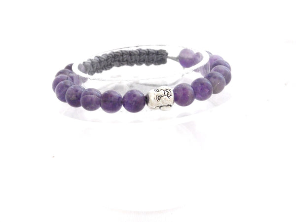 Beads for Her Amethyst with Silver Laughing Buddha Bracelet