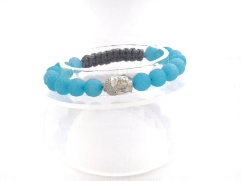 Faceted Blue Agate with Plated Buddha