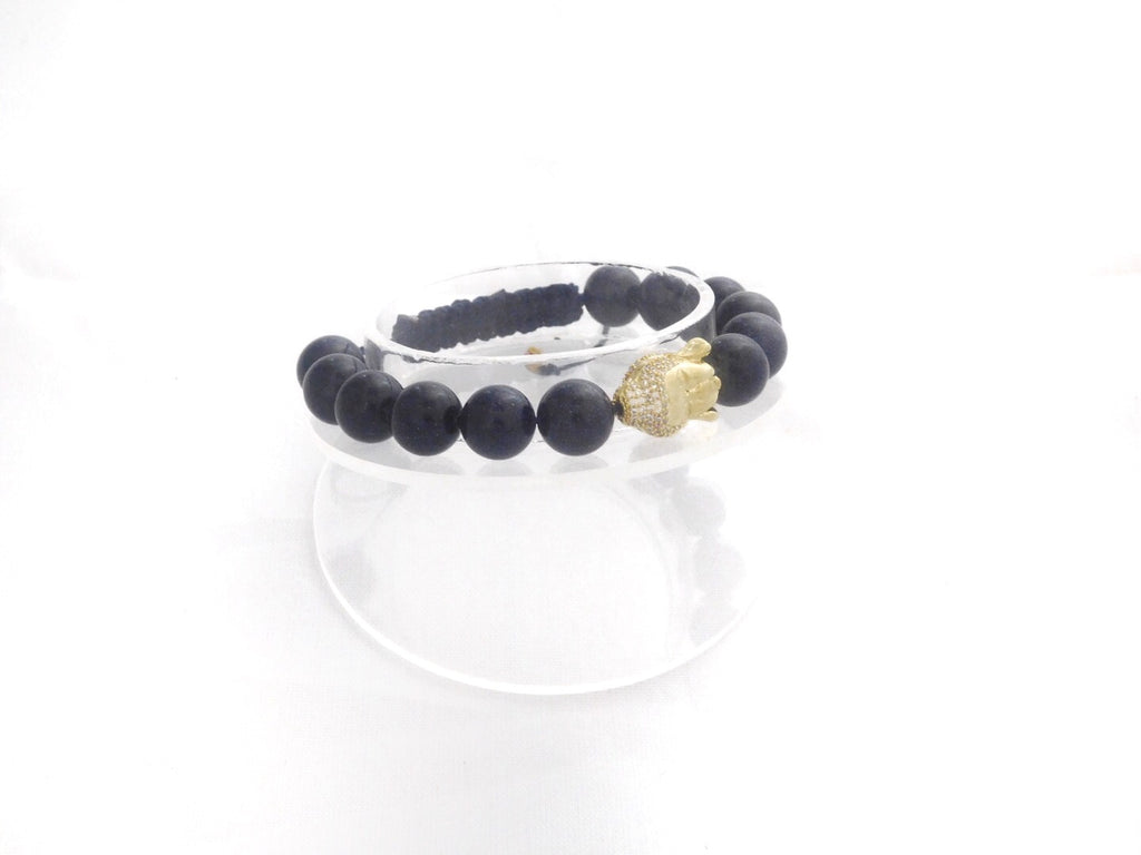 Beads for Her Blue GoldStone with Pave Buddha Bracelet