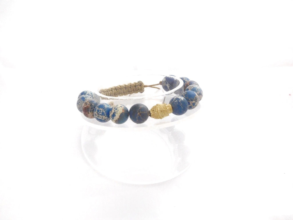 Beads for Her Blue Sediment Jasper with Pave Buddha Bracelet