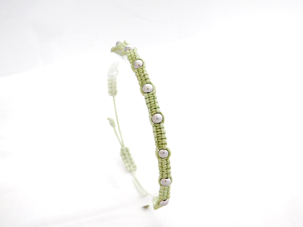 Chartreuse Macrame with Silver Beads