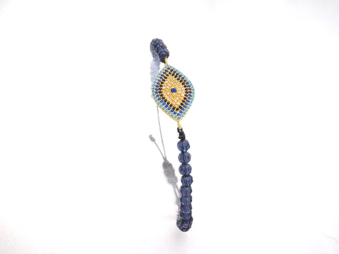 Evil Eye Protection Charm W/ Navy Crystals