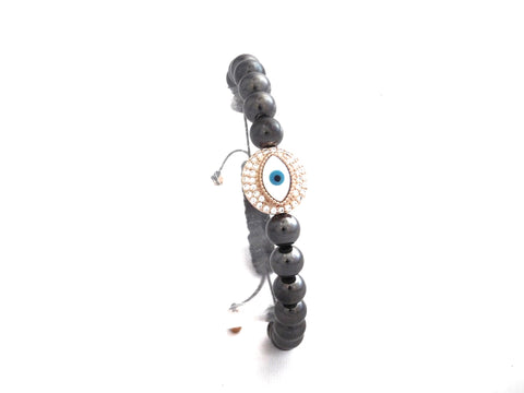 Rose Gold Pave Round Eye Protection Charm W/Black Beads