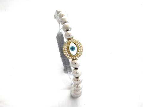 Gold Pave Round Eye Protection Charm W/ Gunmental Beads