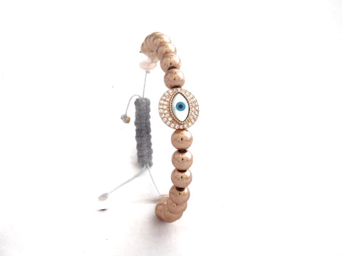 Rose Gold Pave Round Eye Protection Charm W/ Gunmental Beads