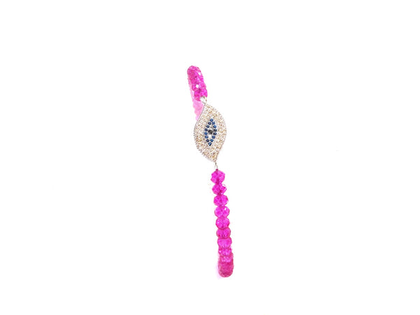 Charms Bracelets Silver Pave Evil Eye Protection Charm w/fuchsia crystals