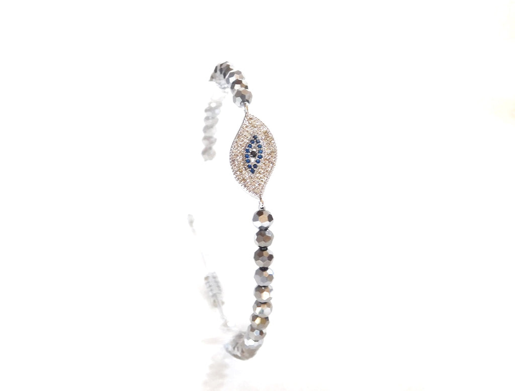 Charms Bracelets Silver Pave Evil Eye Protection Charm w/ silver Crystals