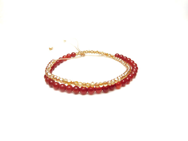 Les Petites Wrap Red Agate Peach Crystals