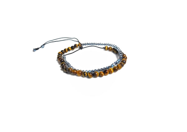 Les Petites Wrap Tiger Eye Blue Crystals