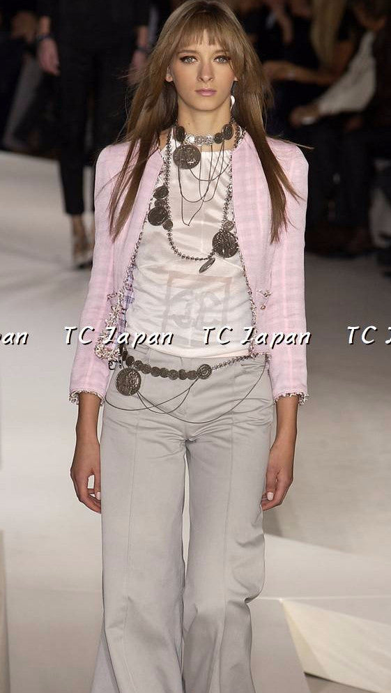 chanel jacket pink tweed シャネル