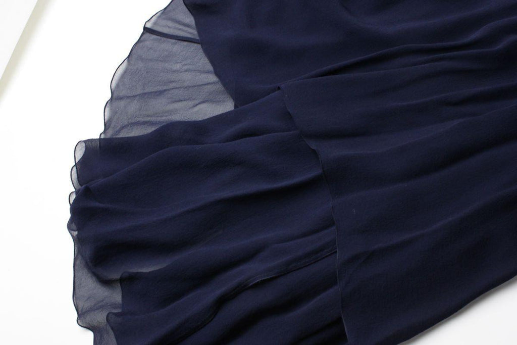 CHANEL 06PF Navy Tiered Silk Chiffon Gown Party Maxi Dress F38-40 シャネル ワンピース
