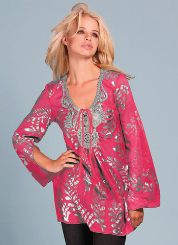 Hale Bob Silk Tunic Tops 2TRP2910CORAL New XS ヘイリーボブ シルク ブラウス/トップス 即発