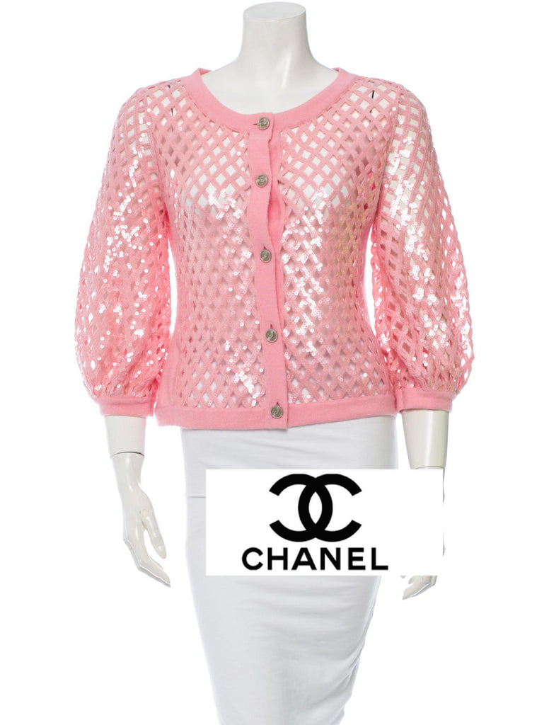 CHANEL 08S Sequins Pink Cashmere Cardigan 40 シャネル ピンク・カシミア・カーディガン