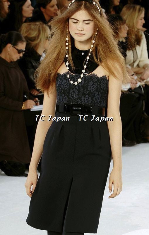 CHANEL 07A $6K Midnight Blue Lace Tops Silk Strapless Dress 36 シャネル ネイビー・ベルト付・ワンピース - シャネル TC JAPAN