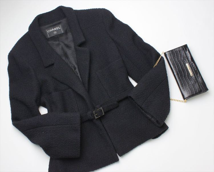 CHANEL 01A Black Belted Wool tweed jacket 38 シャネル ジャケット - シャネル TC JAPAN