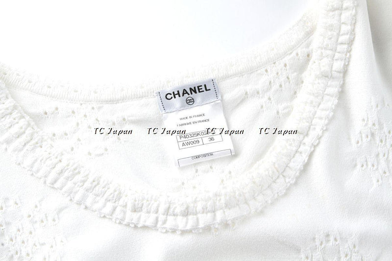 CHANEL 11S Black White Pointelle Knit Dress 34 シャネル ブラック・ニット・ワンピース - CHANEL TC JAPAN
