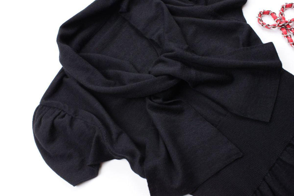 CHANEL 07A Black Cashmere silk black knit sweater Tops like new 34 シャネル カシミア セーター