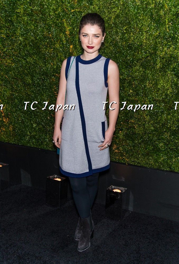 CHANEL 15S Cashmere Lilic Navy trimming Dress 38 40 シャネル カシミア ワンピース - シャネル TC JAPAN