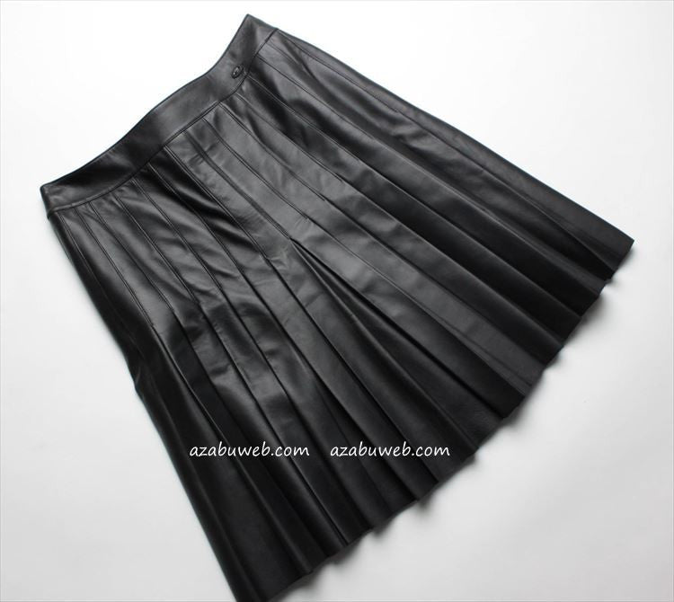 CHANEL 05A black leather pleated skirt New 36 シャネル スカート - シャネル TC JAPAN