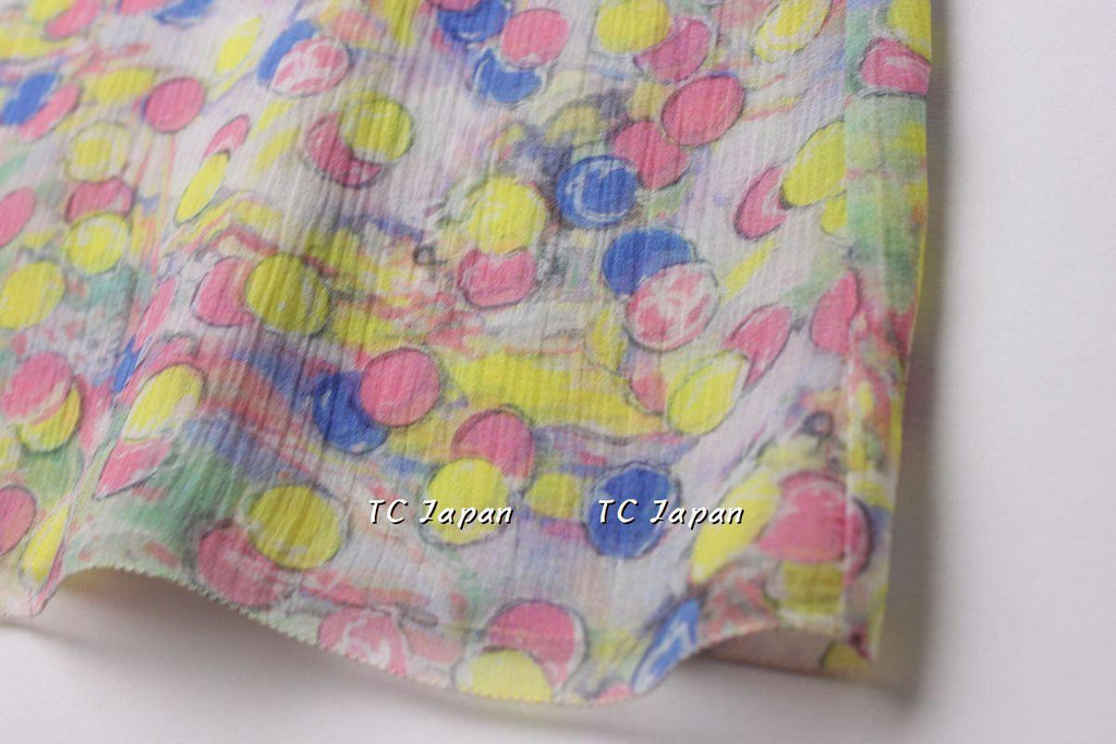 CHANEL 11C Pink Yellow Blue Pretty Silk Dress 40 シャネル 水玉イエロー・シルク・ワンピース 即発 - CHANEL TC JAPAN