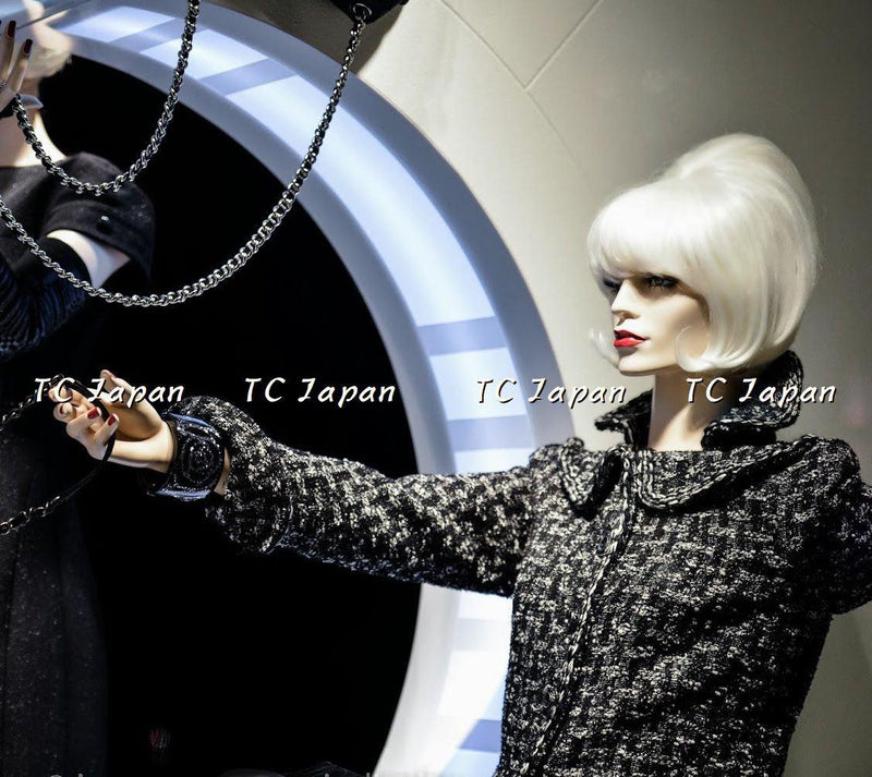 CHANEL 13A Black Grey Wool jacket Coat 38 シャネル ウール・コート - シャネル TC JAPAN