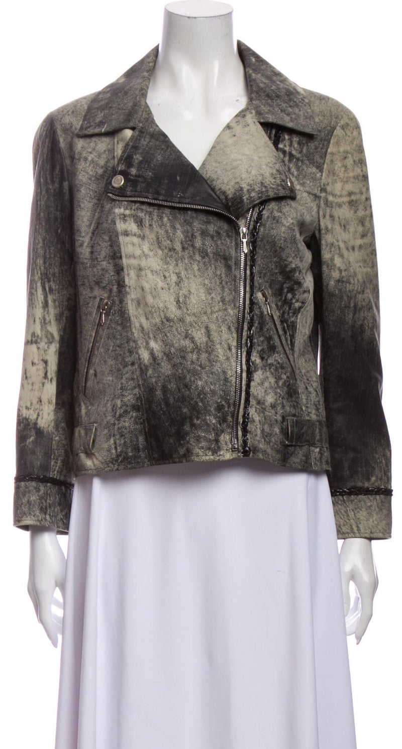 CHANEL 06S Calf Leather Grey Black Moto Rider Jacket 38 42 シャネル モーターサイクル・ジャケット