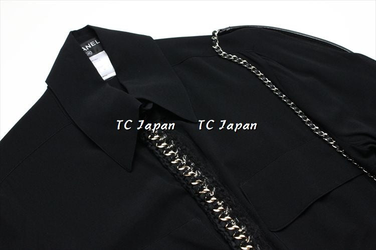 CHANEL 11A Kate Bosworth Black Silk Chain Blouse Shirt 40 シャネル シルク ブラック シャツ - シャネル TC JAPAN