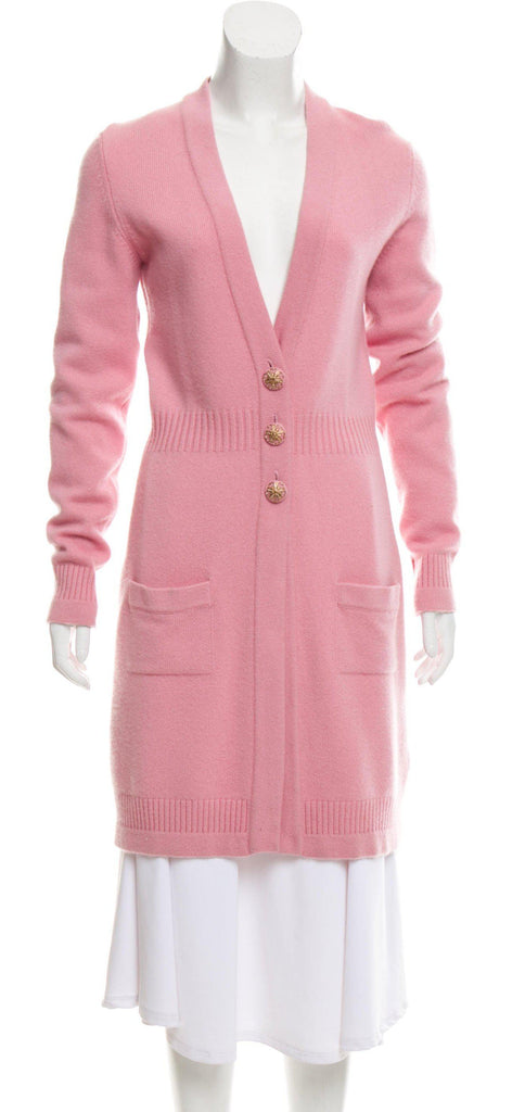 CHANEL 07A Pink Cashmere Long Cardigan 38 シャネル ピンク・カシミア・ロング・カーディガン