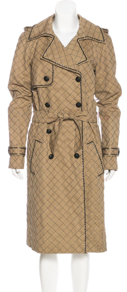 CHANEL 04A Beige Quilted Trench Coat 38 シャネル ベージュ・キルト・トレンチ・コート