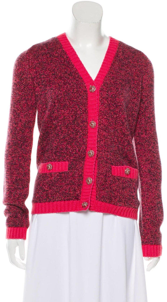 CHANEL 16A Red Pink Cashmere Cardigan 34 48 シャネル レッド・ピンク・カシミア・カーディガン