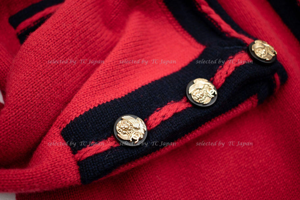 CHANEL 10C Red Navy Ivory Cashmere Knit Cardigan 36 40 シャネル カシミア・レッド カーディガン 即発