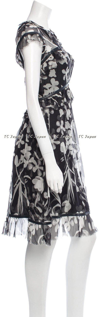 CHANEL 04S Grey brown Black Logo Silk Dress F36 シャネル ワンピース - シャネル TC JAPAN