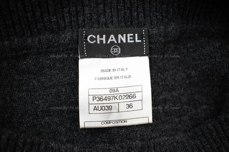 CHANEL 09A Black or Grey Belted Knit Wool Cashmere Dress 36 38 シャネル ウール・カシミア・ワンピース 即発 - CHANEL TC JAPAN