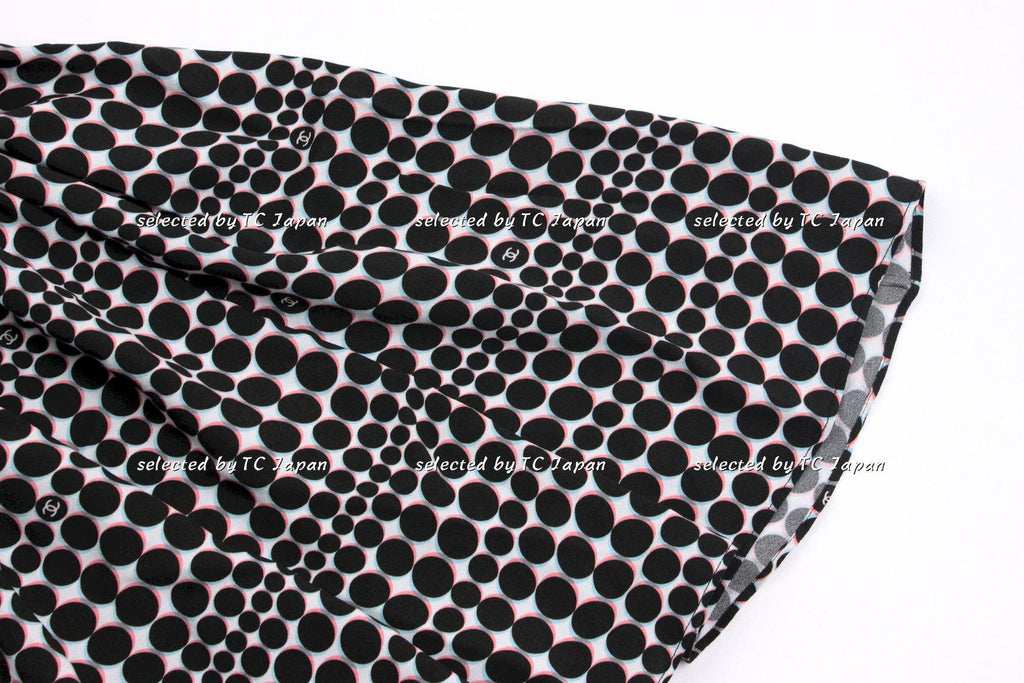 CHANEL 14S dot Black pink and sky blue dress Like New 38 シャネル サマー ドット ワンピース 新品