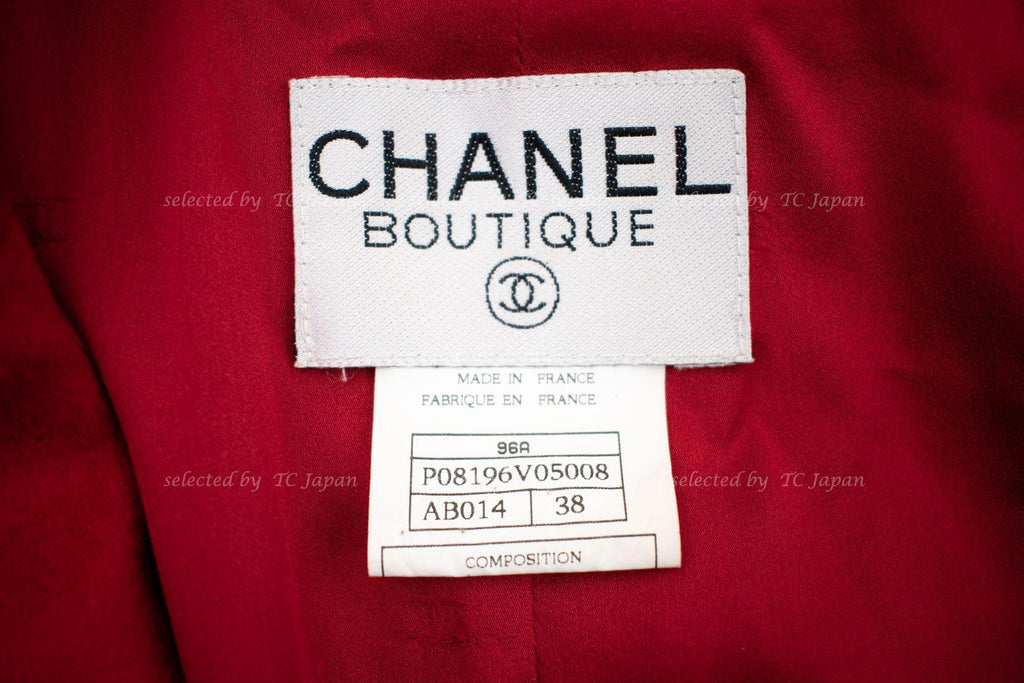 CHANEL 96A Red Cashmere 100% Gold Button Jacket 38 シャネル レッド・カシミア・ジャケット 即発
