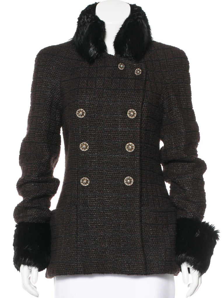 CHANEL 10PF Fur Collar Double Dark Brown Coat Jacket 38 42 シャネル ダブル・ジャケット・コート - シャネル TC JAPAN