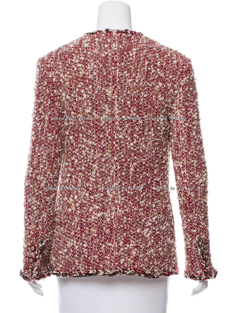CHANEL 14PF Crimson Beige Tweed Jacket 38 40 シャネル BIGBANG G-DRAGON着用 ツイード・ジャケット