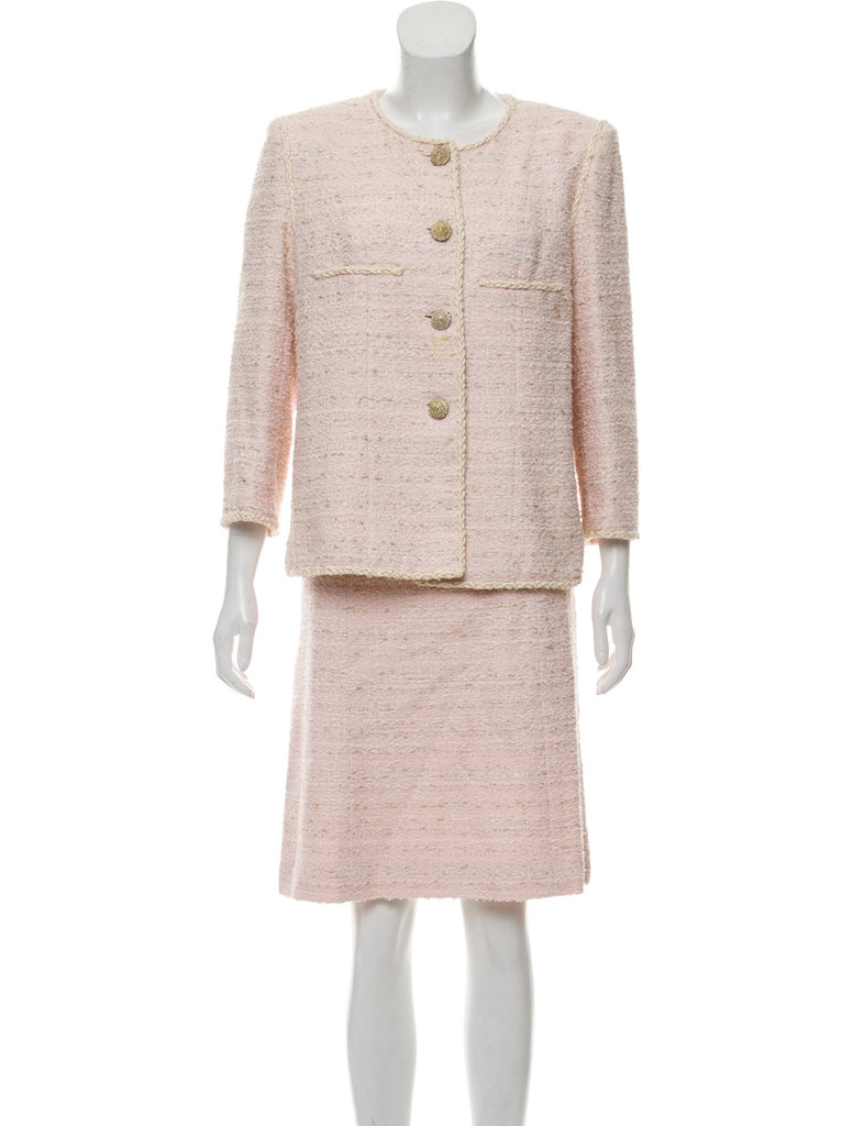 CHANEL 10S Creme or Pink Tweed Jacket Suit 44 シャネル クリーム・ペールピンク・ツイード・ジャケット・スーツ