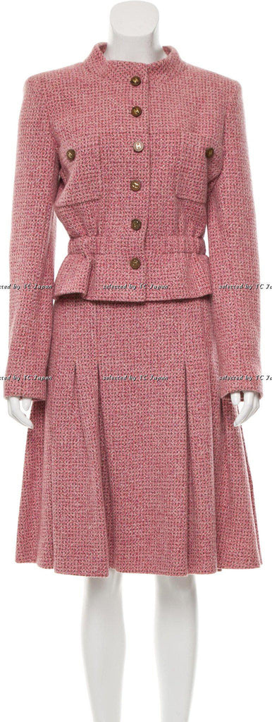 CHANEL 01A Pink and Brown Cashmere Tweed Jacket Suit 40 シャネル ピンク・カシミア・ツイード・ジャケット - シャネル TC JAPAN