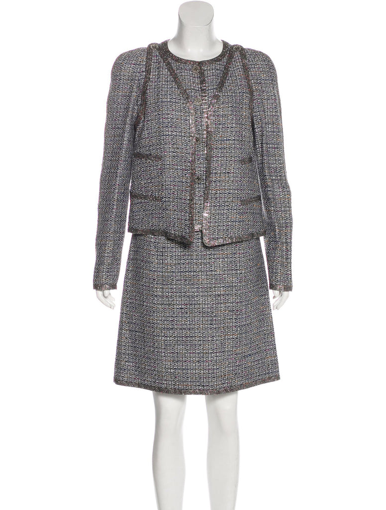 Chanel 11S Black White Silver Multicolor Tweed Jacket With Crystal Trim 36 シャネル シルバー スワロフスキー・ジャケット