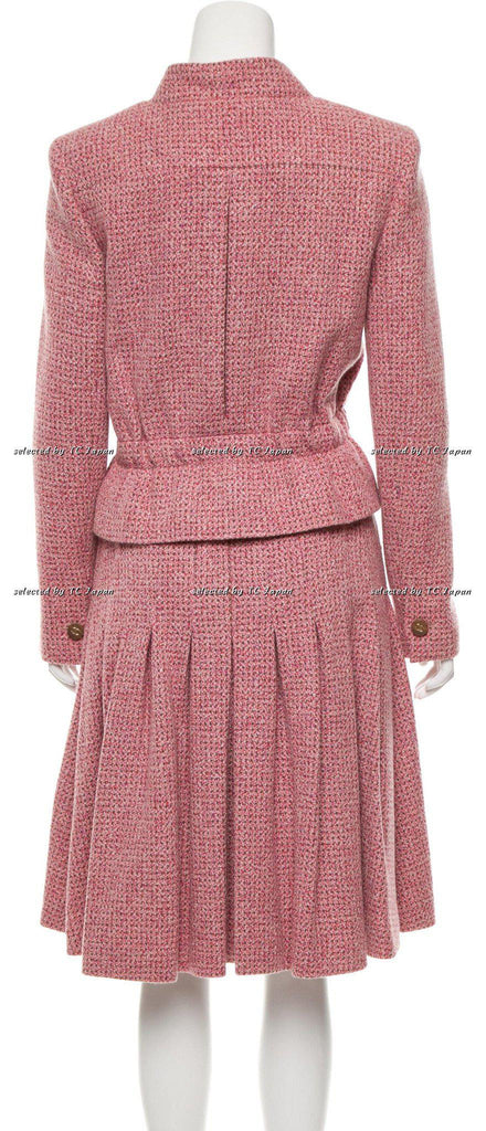CHANEL 01A Pink and Brown Cashmere Tweed Jacket Suit 42 シャネル ピンク・カシミア・ツイード・ジャケット - シャネル TC JAPAN